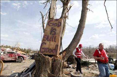 Sign outside Henryville, IN. Photo by Kylene Lloyd, The Courier-Journal