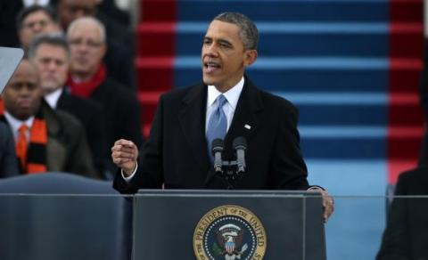 President Obama delivers his second inaugural address. (Photo from slate.com)