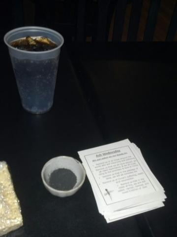 "Posted to Facebook: ""Here at the coffee shop with ashes and prayers. Stop by, won't you?"""