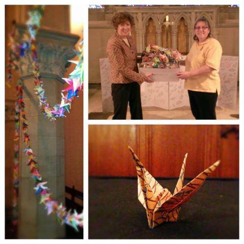 An example of messages of encouragement: 1,000 paper cranes that travel to places healing from violence, currently at the Old South Church in Boston, the site of the marathon bombings. Click picture for full story.